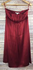 Banana Republic Strapless Dress 10 Red Silk Valentines Prom Formal Velvet