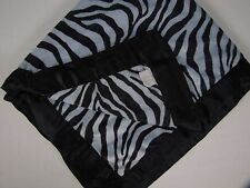Little Giraffe Baby Blanket Blue Plush Zebra Stripe Luxe Satin Binding EXC