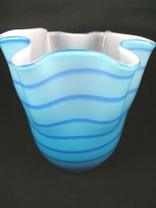 Vintage Fluted Turq. Art Glass Vase with Light Blue Swirls/Solid White Interior