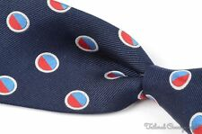 "TURNBULL & ASSER Blue Twill Large Round Geo 100% Silk Mens Luxury Tie - 3.875"""