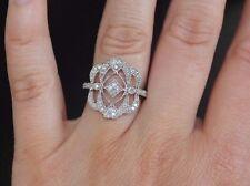 New Sz6 10K 3/8ct Natural Diamond Vintage filigree Statement Ring White Gold