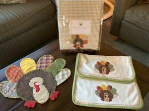 Pottery Barn Kids Thanksgiving Turkey Table Cloth Burp Cloth Placemat *NIP NWOT*