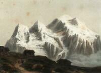 Jungfrau Switzerland c.1850's Bernese Alps lithographed hand color old print