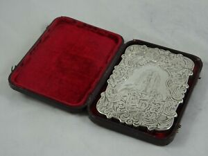 STUNNING VICTORIAN silver CARD CASE, 1845, 70gm