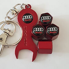 AUDI RED DUST VALVE CAPS & RED SPANNER LIMITED ALL MODELS RETAIL PACK TT A6 R8