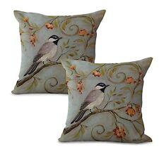 Us Seller-Set of 2 retro bird flower cushion cover bedding decorative pillows