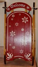 """Welcome Holiday Ornamental Wooden Sleigh  - 19"""" LONG X 9 1/2"""" WIDE X 2 1/2"""" DEEP"""