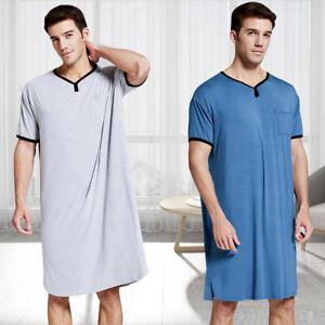 Man Summer Nightwear Short Sleeve Nightshirt T-Shirt Pajamas Top Sleepwear