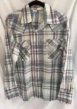 #13 Vintage Pearl Snap Button Men's L WESTERN COWBOY Shirt Long Sleeve Levis