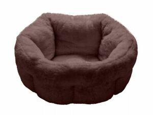 "Furhaven Medium 23"" Luxury Fur Warming Cuddler in Sable Brown NEW"