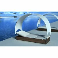 vidaXL Sun Lounger with Canopy Poly Rattan Brown Outdoor Garden Day Bed Seat