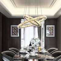 Lampadario 2 anelli cristallo led da soffitto a sospensione luce pendente luci