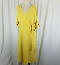 Ann Taylor Factory Wrap Side Tie Yellow Chiffon Midi Dress Womens S NWT $110