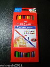 Faber Castell Bi Colour Pencils 24 Shades 2 Color In1 Gold & Silver Lot of 12 FS