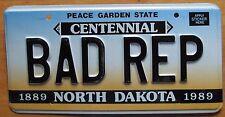 North Dakota 1989 VANITY License Plate BAD REP