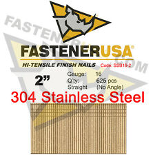 "2"" 16 Gauge 304 Stainless Steel Straight Finish Nails 2 Inch 16 ga (625 ct)"