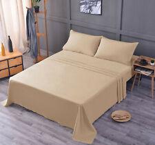 Luxury Bamboo Sheet Set Soft Hypoallergenic Beige King Deep Pocket 4 Pc Set