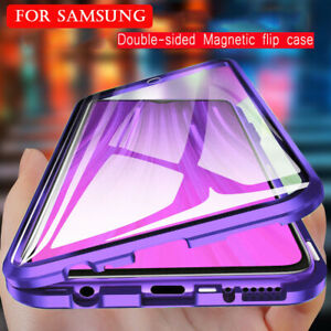 360° DOUBLE GLASS Magnetic Case Case For Samsung S21 Ultra S20 A72 A52 A32 A51