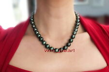 "round AAAAA 18""10-11mm Natural REAL south sea black pearl necklace 14K gold"