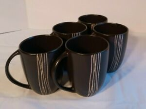 Mikasa Japan Set of 5 Mugs Cups Gold on Black Bamboo Reeds Discontinued