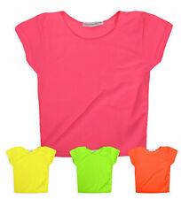 Girls Neon Crop Top Kids New Pink Yellow Green Orange T shirt Ages 7 - 13 Years