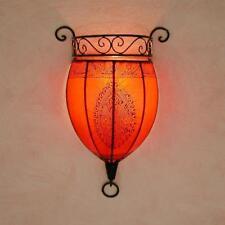 Oriental Applique Murale Handmade Marocaine Lampe en Cuir Henna Nakous Rouge