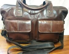 VINTAGE FOSSIL 100% BROWN  SOFT LEATHER LAPTOP WORK BAG