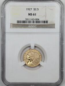1927 $2.50 Indian Head Gold Quarter Eagle MS61 NGC 3511163-004