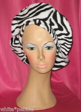 Handmade Beret - Fleece - Zebra Print - One size fits most