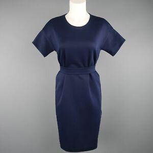 JIL SANDER Size M Navy Cotton / Polyester Jersey Short Sleeve Belted Shift Dress