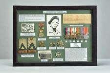 HR West. SA Armoured Corps WW2 Framed Medal Group with Badges & Insignia. ZYRE