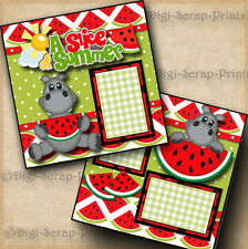 SLICE OF SUMMER watermelon 2 premade scrapbook pages paper piecing ~BY DIGISCRAP