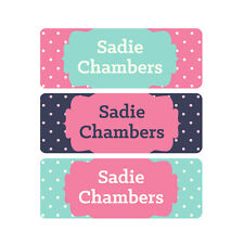 School Name Labels, Waterproof, Daycare Labels, Camp, Pink, Mint, Navy, Dots