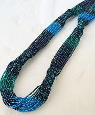 """NEW Zulu Czech Glass Bead BLUE GREEN Statement Strand String NECKLACE 28"""""""