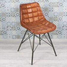 Industrial Vintage Eiffel Dining Chair Brown Leather Metal Rivet Bar Restaurant