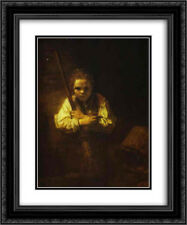 Rembrandt 2x Matted 20x24 Framed Art Print 'A Girl with a Broom'
