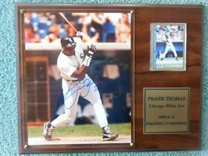 Frank Thomas Autographed Photo Wall Plaque with COA and Fleer 1993 Baseball Card