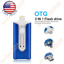 OTG USB Flash External Memory Photo Stick 3 In 1 Pen Drive For iPhone Android US