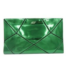 Roger Vivier Prismick Clutch Green Metallic Chrome Bag