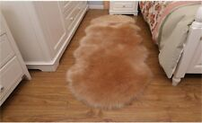 Light Brown 180cm Bedroom Faux Fur Carpet Imitated Sheepskin Rug Washable Mat AU