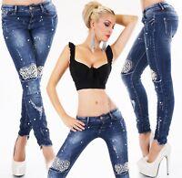 Original de Diseño Stretch Vaqueros Mujer Pantalones Röhrenjeans Perlas Desgaste