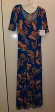 LuLaRoe Ana Maxi Dress Paisley Turquoise Blue Beautiful Print NWT Small unicorn