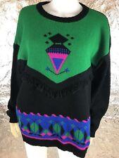 Women's Vintage 1980's Green & Black Bold Pattern Sweater, Size L, Pre-Owned
