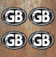 GB Laminated Vintage Aged Look Stickers Small 75mm Car Motorbike Scooter Vespa
