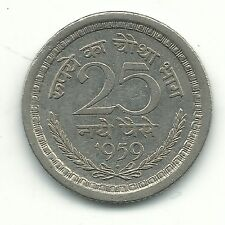 VERY NICE HIGH GRADE AU/UNC 1959 B INDIA 25 PAISE COIN-FEB511