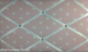 Baby Pink & White Star Fabric, Pin board Notice Boards Memo Message Ribbon Board