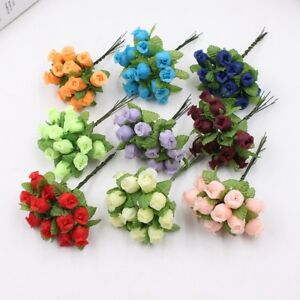 Handmade Mini Artificial Flowers Decoration Silk Rose Bouquet Wreath Diy 12 Pcs