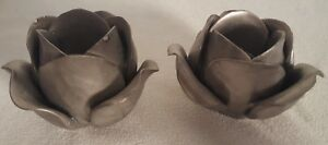 Set Two of Tealight Silver Rose Flower Candle Holder Ceramic