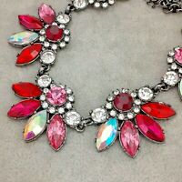 Unique Statement Pink & Red Glass Rhinestone Vintage Style Gunmetal Necklace