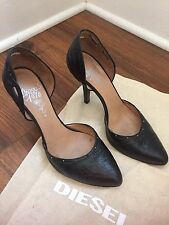 "Diesel - ""Sulphurea"" Black Embossed High Heels- Women's Sz 7.5 EU Sz 38"